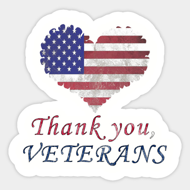 c0132977 American Flag Love Thank you Veterans day for your services Sticker