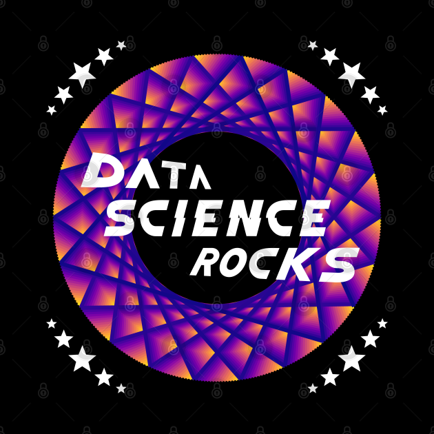 Data Science Rocks   Retro Racing Stars Logo Yellow Red Blue