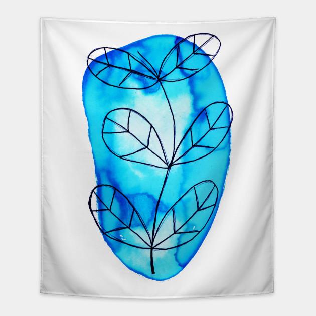 Blue Watercolor Plant