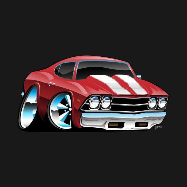 Classic American Muscle Car Cartoon