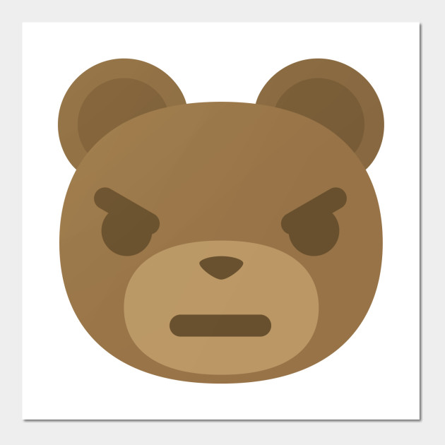 teddy bear emoji angry and mean look zoo posters and art prints
