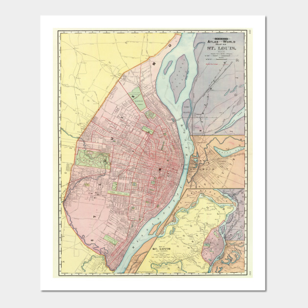 Vintage Map of St Louis MO (1897) - St Louis Map - Posters and Art ...