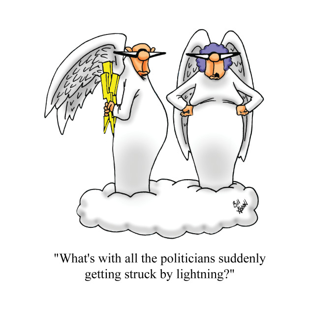 Funny Political Angel and Wife Cartoon Humor