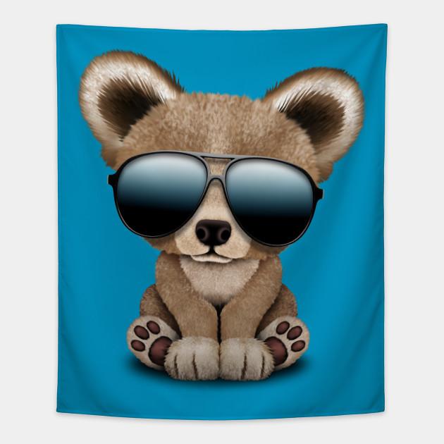060fb74a9b5 Cute Baby Bear Wearing Sunglasses - Baby Bear - Tapestry