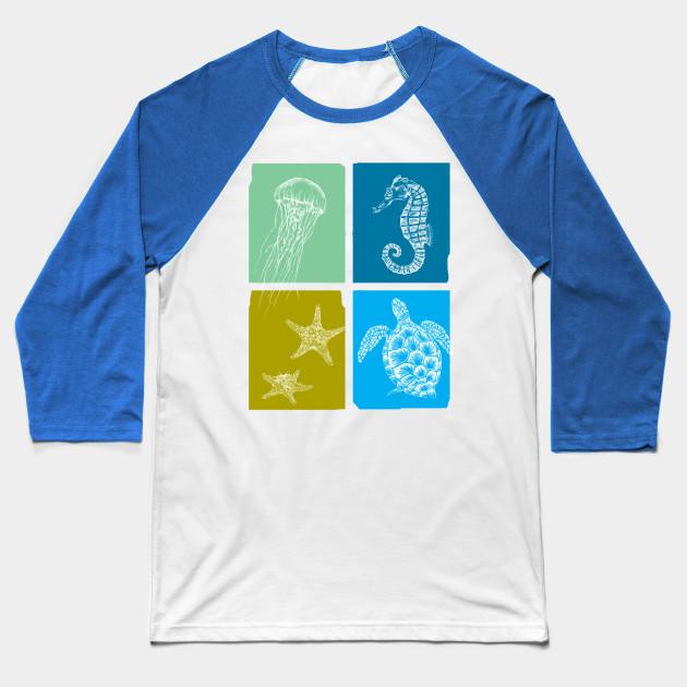 e2a5175056c Sea life print - Sea Life - Baseball T-Shirt