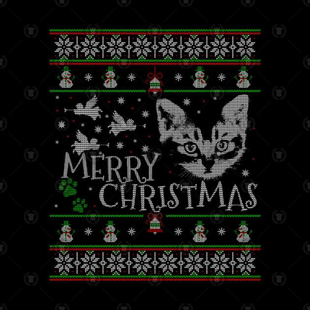 Cute American Shorthair Christmas Cat Snow Man - American Shorthair Christmas Cat