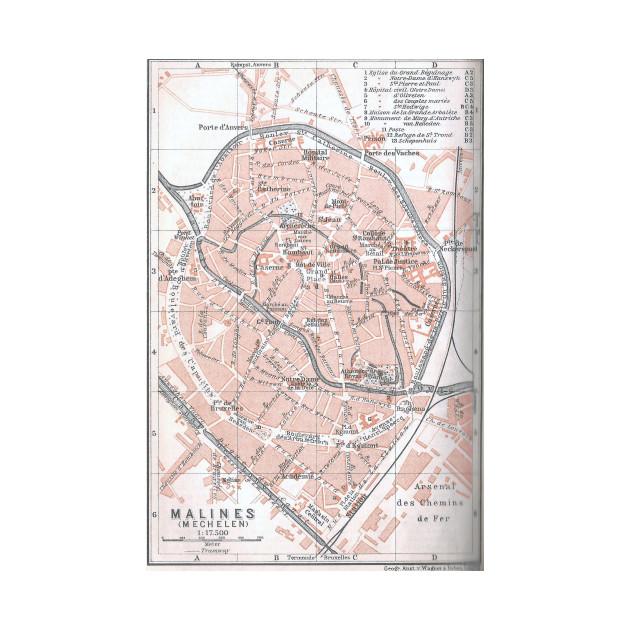 Vintage Map of Mechelen Belgium 1905 Mechelen Belgium TShirt