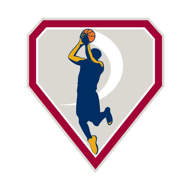 Basketball Player Jump Shot Ball Shield Retro