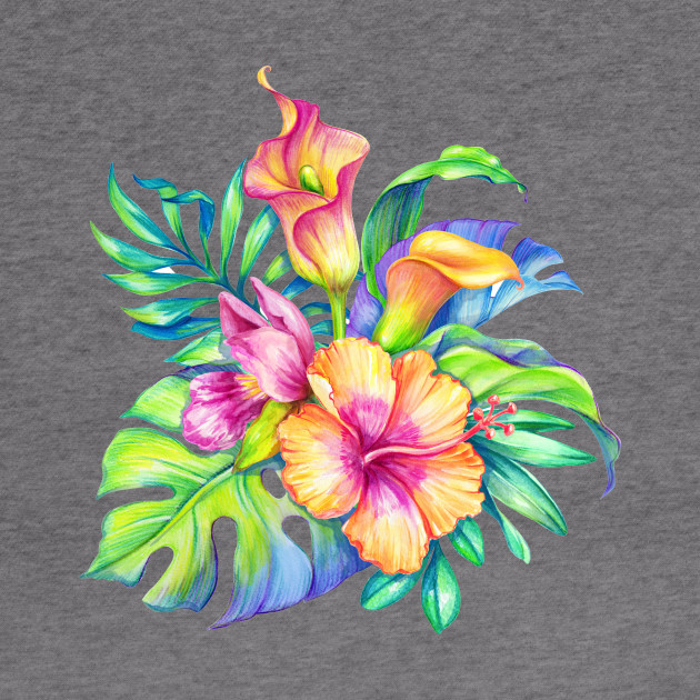 Colorful tropical Flowers Bouquet Design - Tropical Flowers - Hoodie ...