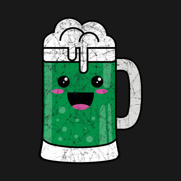 Kawaii Distressed Green Beer