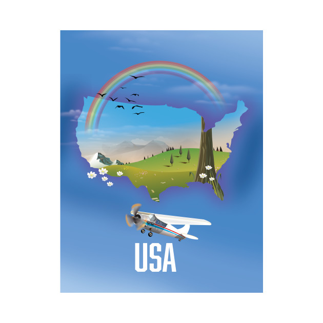 USA Map Travel poster