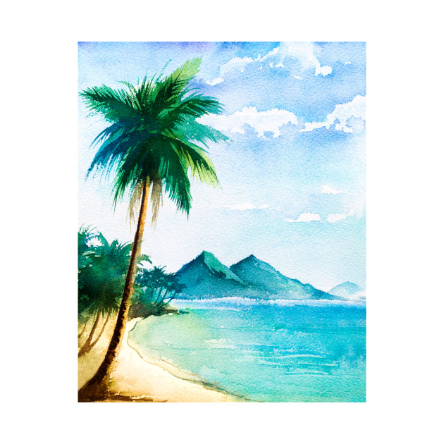 Watercolor Tropical Beach Scene With Palm Trees Beach Scene With