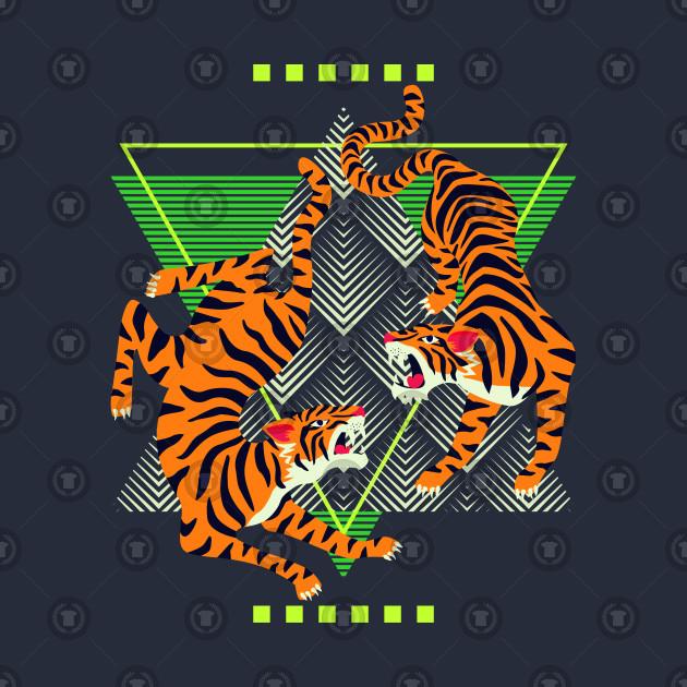 Double Tiger Retro Background