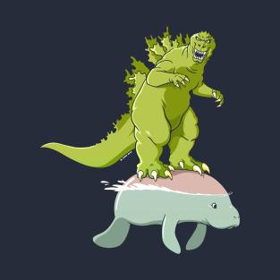 Godzilla on a Manatee t-shirts