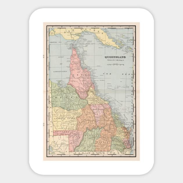Map Of Queensland Australia.Vintage Map Of Queensland Australia 1901