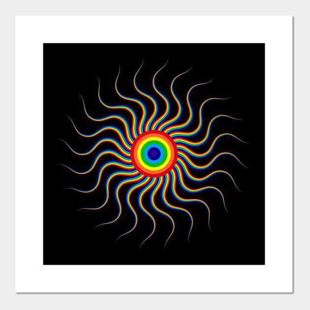 Abstract Rainbow Sun Trippy Abstract Art Mandala