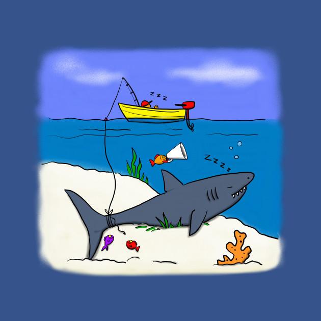 Funny Fishing With Shark Cartoon Funny Fishing Onesie Teepublic