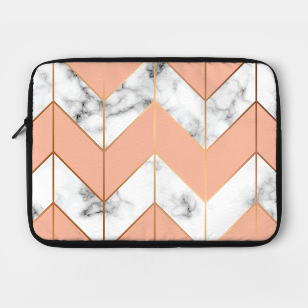 White Marble Background With Pink And Golden Zigzag Pattern Marble Laptop Case Teepublic