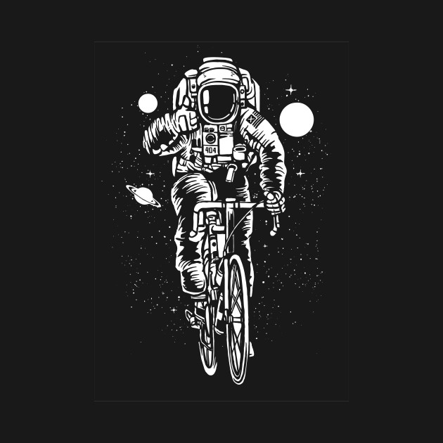 astronaut riding bicycle funny science hipster design outerspace