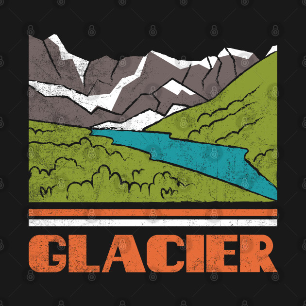 Glacier National Park Skyline Retro Cityscape 70s 80s Vintage Gift