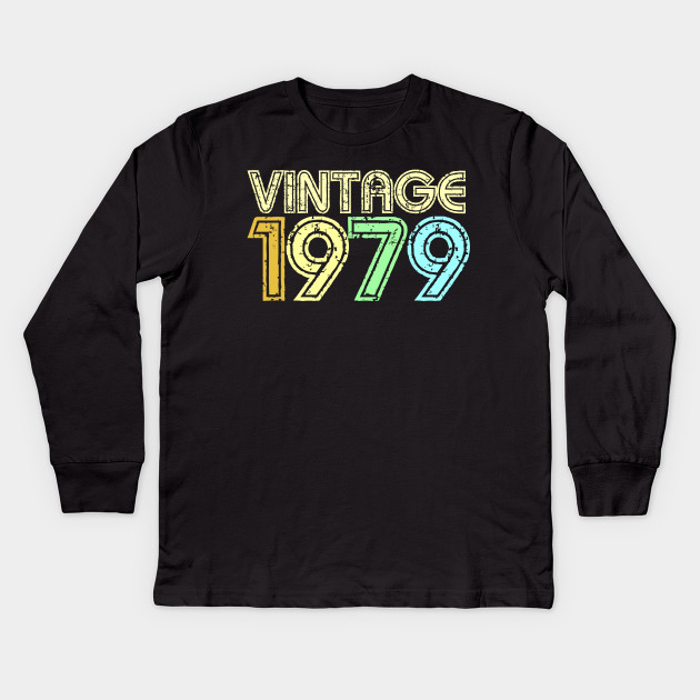 Vintage 1979 Retro 70s 40th Birthday Gift Kids Long Sleeve T Shirt