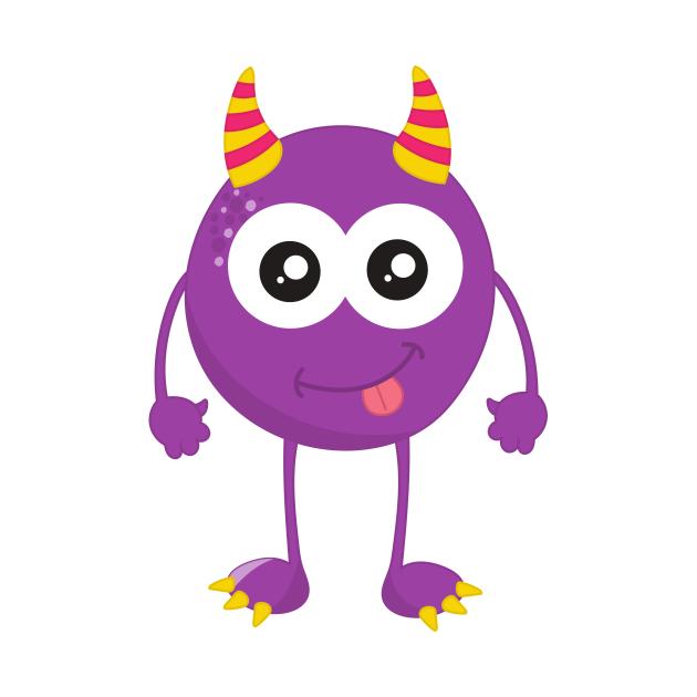 Cute Monster, Little Monster, Purple Monster, Horns