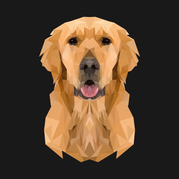 Golden Boy Golden Retriever Dog Low Polygon