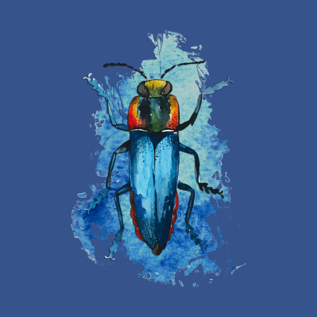 Beautiful Watercolor crawling BUG Blue