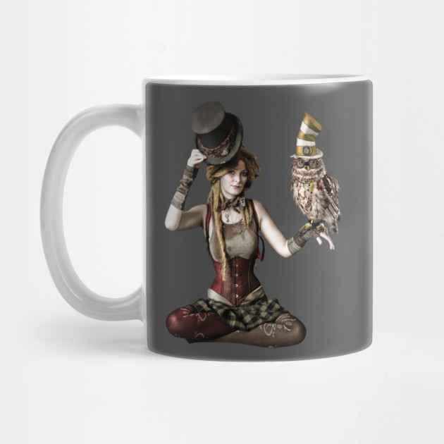 5060a8606 Cool Steampunk Victorian Woman and Owl in Top Hats by lemonaidunicorn