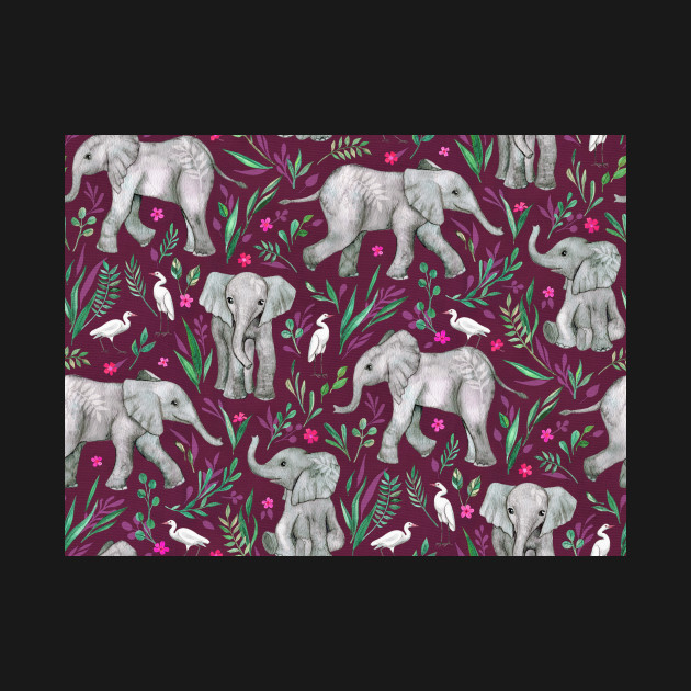 Baby Elephants and Egrets in Watercolor - burgundy red