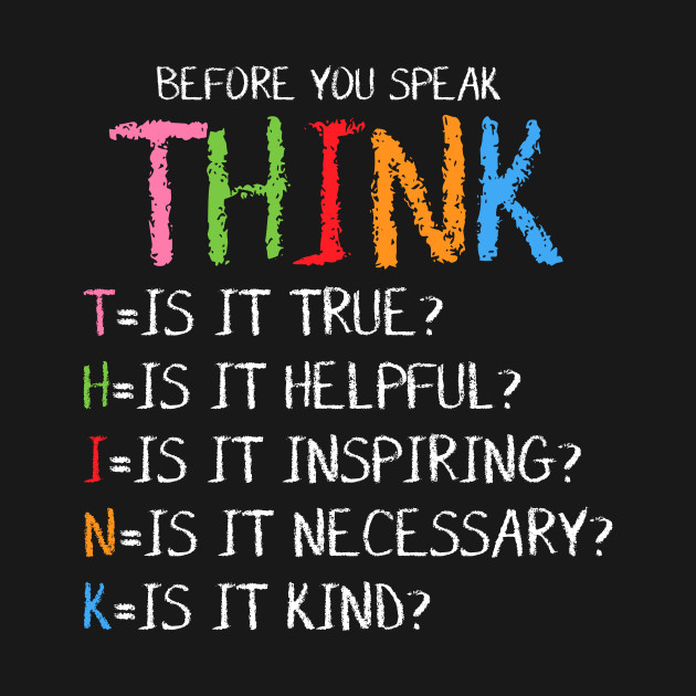 Quotes On Thinking Before You Speak: Before You Speak Think Quote Saying Slogan Motto