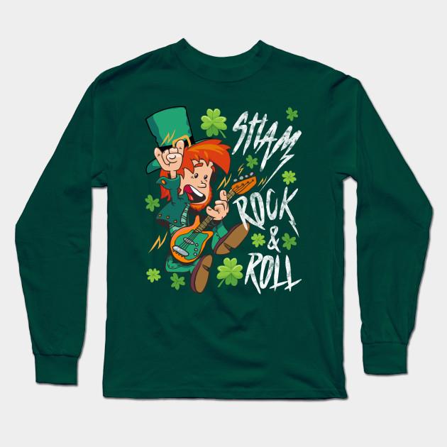 4e1481590 Shamrock and Roll Leprechaun St. Patrick's Day Rock Music Fan Gift Long  Sleeve T-Shirt