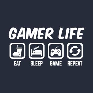 dfef26e309b2a Gamer Life - Eat Sleep Game Repeat T-Shirt