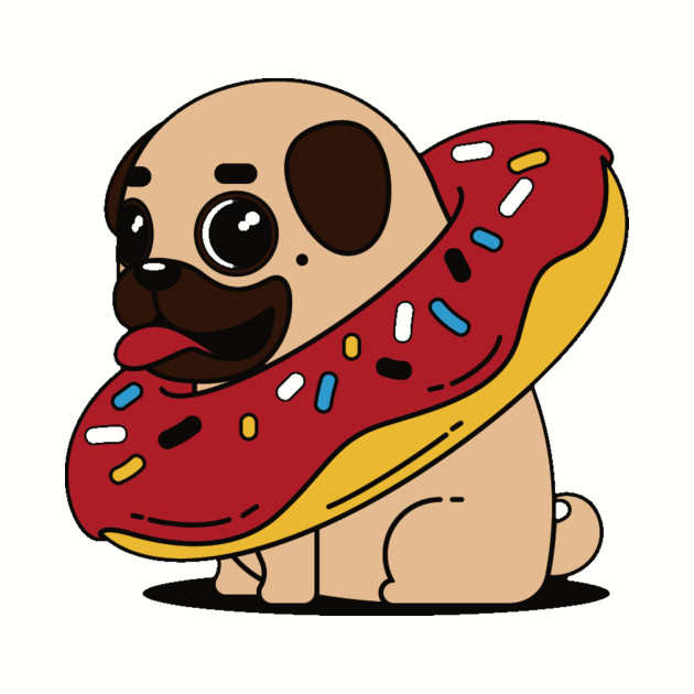 Cartoon Doughnut Factory: Cartoon Pug Dog With Red Glazed Vanilla Donut Necklace