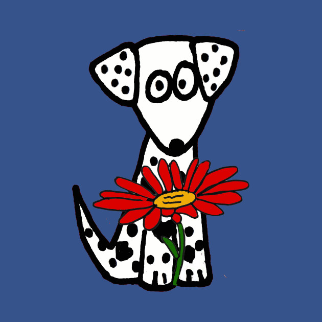 Cute Spotted Dog with Flower Art