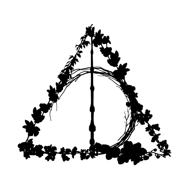 Harry Potter Deathly Hallows Flowers Sihlouettes Spring Black