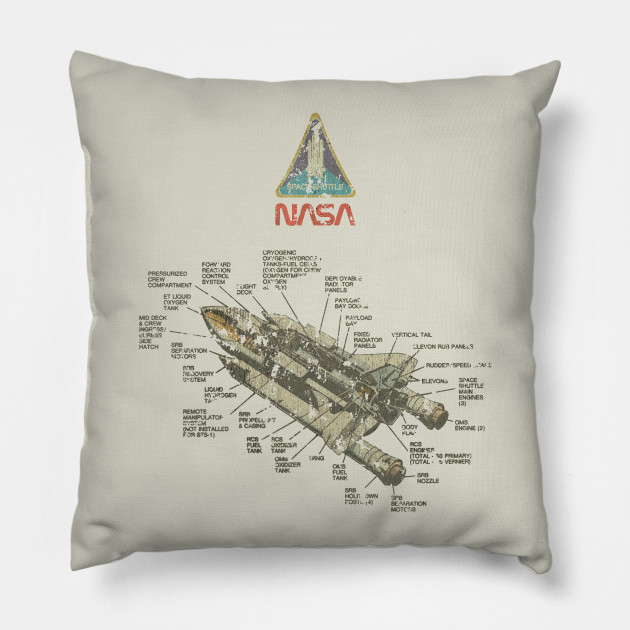 Vintage Space Shuttle Diagram Nasa Pillow Teepublic