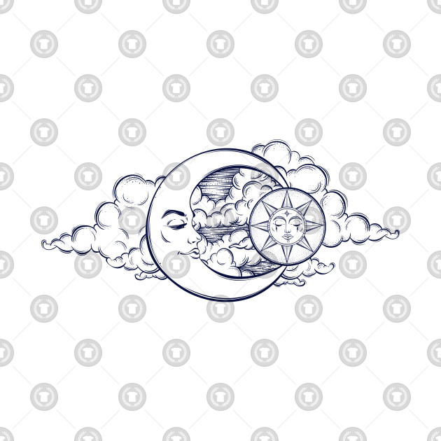 Night Sky Vintage Moon Clouds Tattoo Design