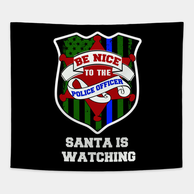 police officer thin blue line christmas gift Tapestry