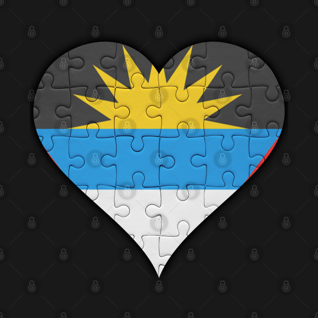 Antiguan & Barbudan Jigsaw Puzzle Heart Design - Gift for Antiguan & Barbudan With Antigua & Barbuda Roots