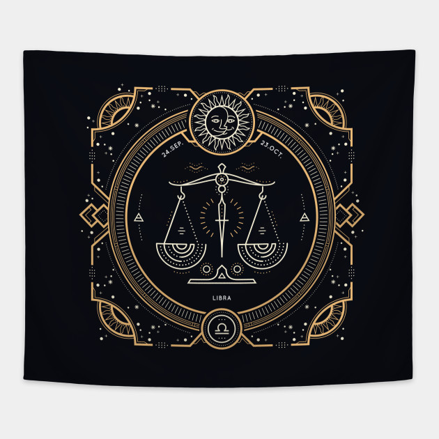 Libra Zodiac Gold White with Black Background