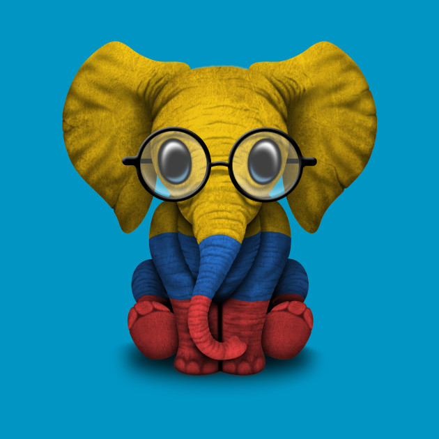 baby elephant with glasses and colombian flag colombia t shirt