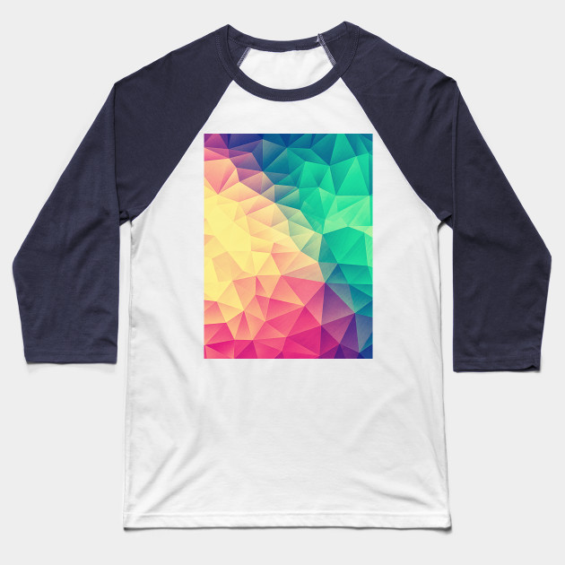 f50bed7a Color bomb! Abstract Polygon Multi Color Cubism Low Poly Triangle Design  Baseball T-Shirt