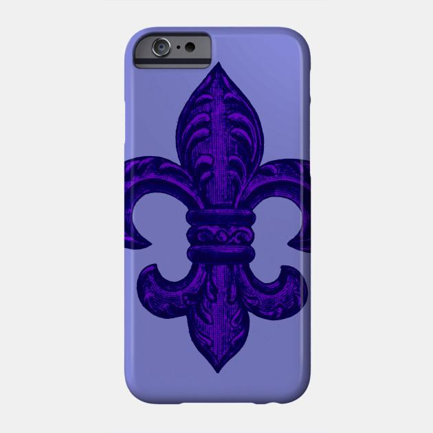 Purple French Fleur de Lys, floral swirls