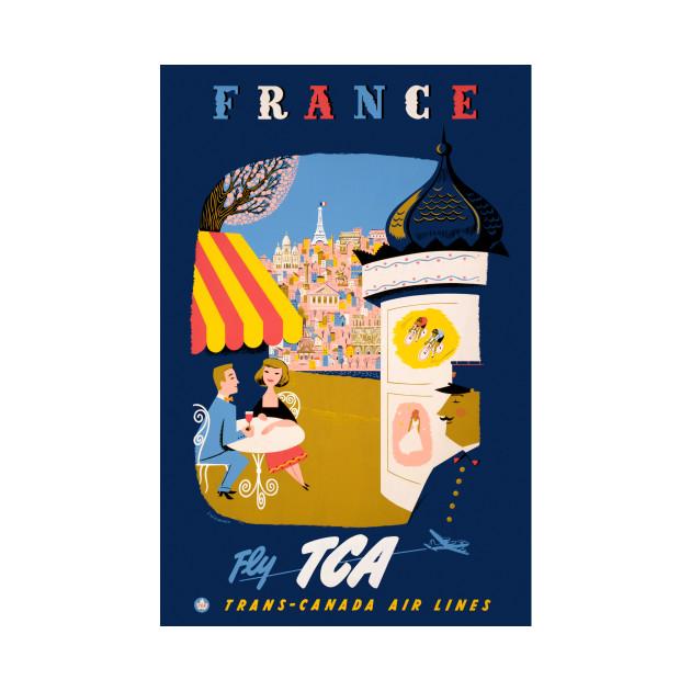 Vintage Travel Poster France Fly TCA