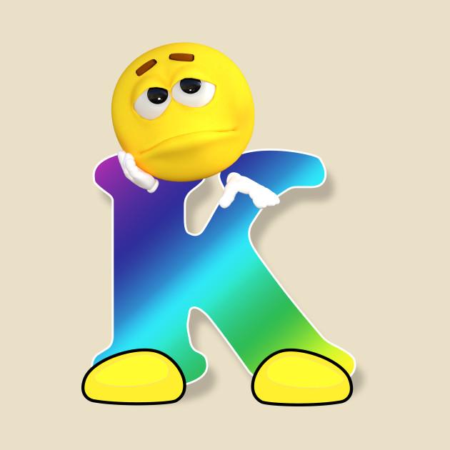 Letter K Alphabet Smiley Monogram Face Emoji Shirt for Men Women Kids