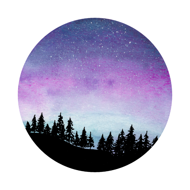 Purple and Blue Galaxy Sky - Watercolour Landscape with Tree Silhouette
