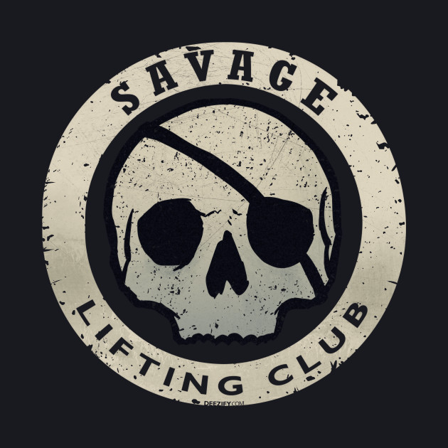 Savage Lifting Club Skull White Badge