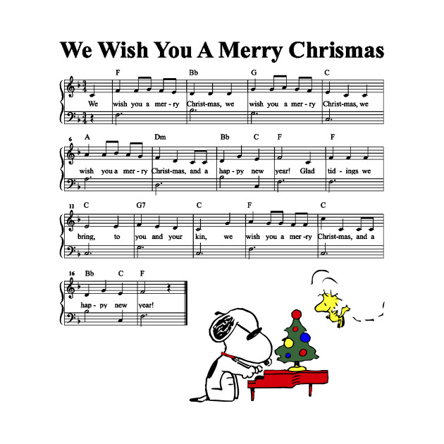 Christmas Music Sheets.Peanuts Snoopy We Wish You A Merry Christmas Kid Music Sheet Lyric