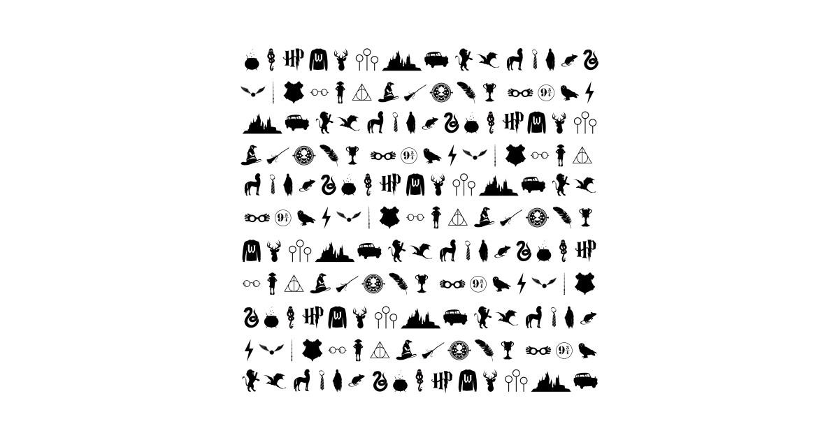 Hp Harry Potter Symbols Texture Pattern Black